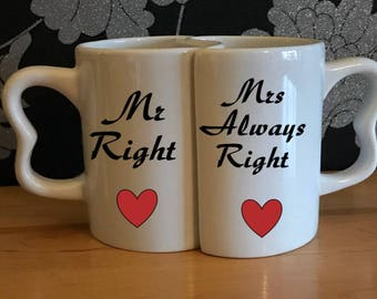 Couple Mugs Mr Right Mrs Always Right
