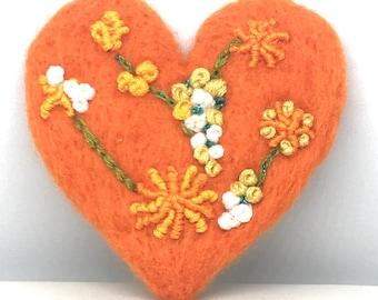 "Heart Brooch ""Flowers"" Needle Felted Brooch with Flowers On Heart Handmade"