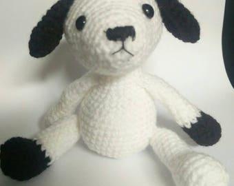 Black and White Amigurumi Crochet Cuddly Toy Stuffed Dog