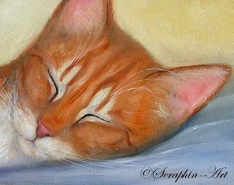 Sleeping Ginger Tabby Cat Oil Painting