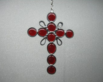 Cross Utilizing Red Glass Nuggets