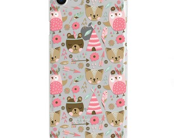 Bears Foxes & Owls Clear iPhone Case