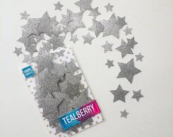 100 Piece Silver Glitter Star Confetti - Silver Star Confetti -  Glitter Stars - Star Die Cuts - Silver Star Shapes - Ready to Ship