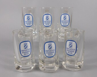 Beer Mugs Set of 6 Clear Glass Mugs Imported Bavarian Beer