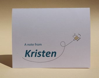 Busy Bee - Name Personalized - Custom Blank Notecards - Set of 8