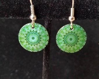Green Patterened Earrings