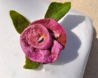 Felt flower, brooch, flower,  beads