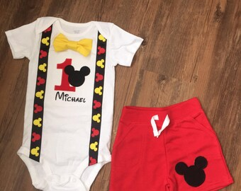 Mickey Mouse Inspired Birthday Outfit with Suspenders, Bowtie & Shorts
