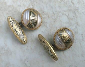 Vintage Damascene Style Button Chain Cuff Links