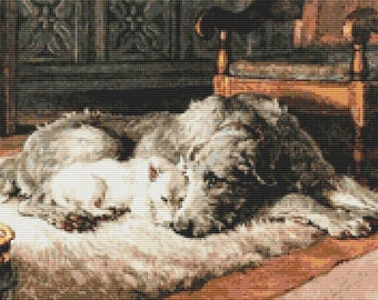 Dog Cross Stitch Kit, Comrades Cross Stitch, Embroidery Kit, Art Cross Stitch, Counted Cross Stitch, Herbert Dicksee