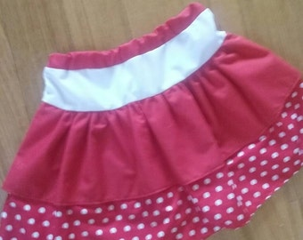 Red Polka dot Layered Skirt