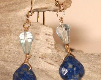 Sodalite & Blue Swiss Topaz Earrings