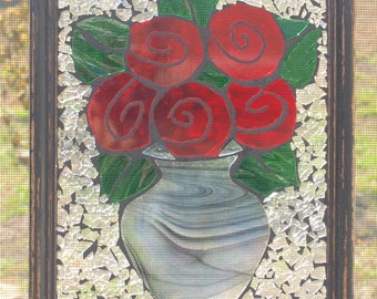 Red Roses Black Vase Stained Glass Mosaic Window Repurpose Frame