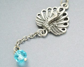 Peacock Necklace,Peacock pendant, Bird Jewelry, Peacock Feather Neckalce