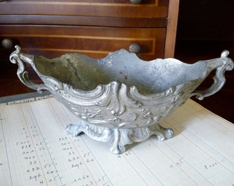 Antique Jardiniere, Metal Urn, Marked Paris, Small Urn, Planter Cachepot, Trinket Dish, French Farmhouse