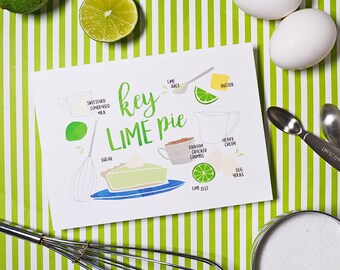 Key Lime Pie, Recipe Illustration, Kitchen Decor, Kitchen Art, Wall Art, Bakery Art, Bakery Sign, Poster, Gallery Wall Art, Home Decor Baker