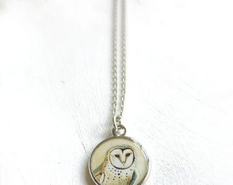 Barn Owl Silver Necklace