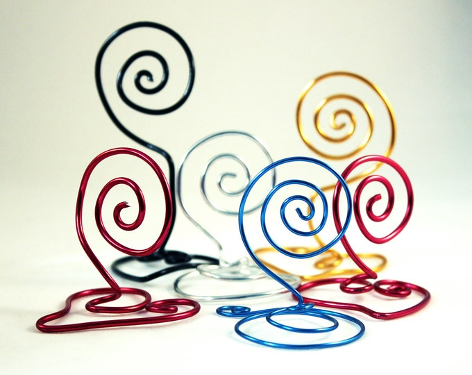 Wire Holder Heart and Swirl Shaped, Card stand, Name Card Holder. Small. Variety Wire Color.