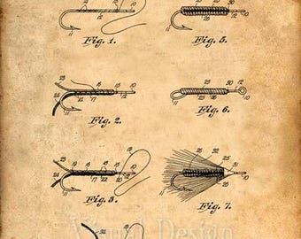 Fly Fishing Patent Print Fly Fishing Art Print