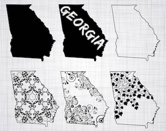 Georgia SVG Bundle, Georgia SVG, State Clipart, Georgia Cut Files For Silhouette, Files for Cricut, Vector, Svg, Dxf, Png, Eps, Decal
