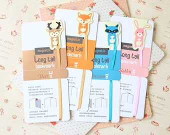 Forest Animals cartoon magnetic Long Tail bookmark