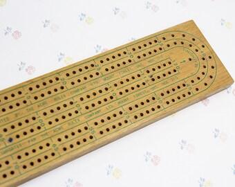 Vintage Cribbage Board & Game Pieces, Wooden Cribbage Board Mens Gift, Family Game Ideas, Vintage Crib Board Game for Him, Cribbage Set
