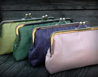 Simply Sweet Kisslock- Bridesmaid Clutch & Bridal Clutch (Choose your colors)