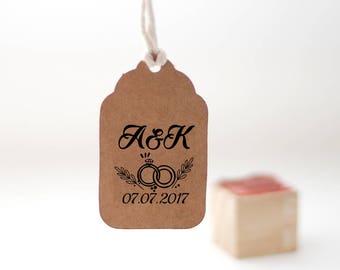 Custom monogram stamp, Custom wedding stamp, weeding rings stamp, Personalized invitation stamp, Custom selfinking stamp, 1x1 stamp - W46