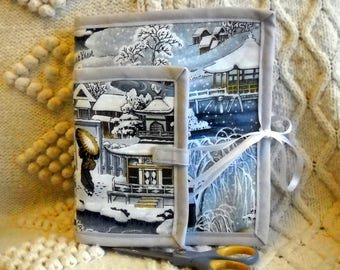 Asian Winter Sewing Caddy Needle Book, Hand Sewing Organizers