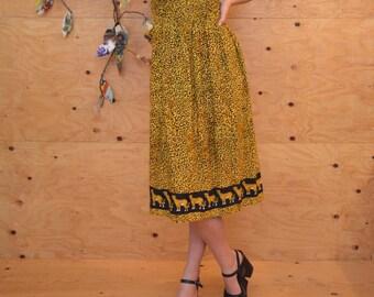 Vintage 80's Dress Leopard Print Midi Skirt Cat Print Summer Dress SZ Medium
