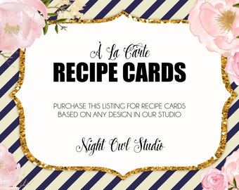 Recipe Card, À La Carte Recipe Card, Printable Recipe Card, Bridal Shower, Recipe Cards, Kitchen Shower