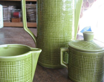 Vintage 1960s Citrine Coffee Pot, Cream and Sugar, Plus One Matching Coffee Cup, Lime Green China