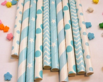 25 Mixed Baby Blue Paper Drinking Party Straws  - Baby Shower