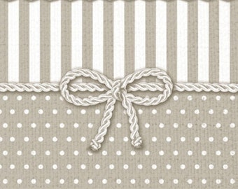 Set of Two Grey Lace Bow  Decoupage Paper Napkins - Vintage Polka Dots Paper Napkins for Decoupage, Mix Media -  Scrapbooking Paper