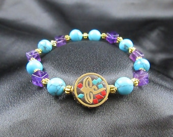 Balancing and Guarding Natural Gemstone Bracelet with Amethyst and Turquoise and Mosaic Dragonfly Charm