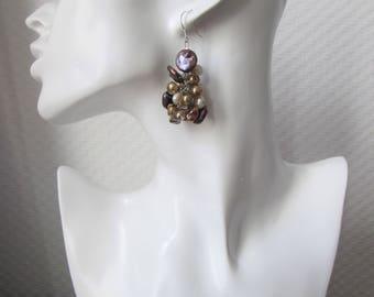 Pearl earrings, crochet earrings with beads, Keshiperlen earrings, Boho earrings, eggplant, lilac, gold, brown, unique, gift for women