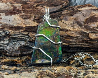 Green Dragon Ammolite Pendant with Sterling Silver Chain