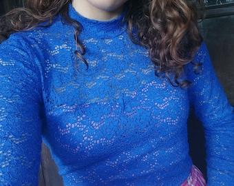 Vintage inspired royal blue lace top   with turtleneck and lining with sweetheart neckline S/M