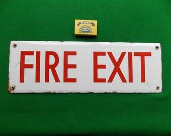 Vintage Enamel/Porcelain Fire Exit Sign