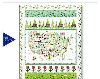 America the Beautiful Quilt Kit. Featuring Windham Fabrics. Designed By Wendy Sheppard
