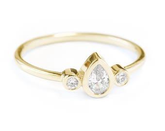 Pear Ring, 0.35 Ct Diamond Ring, Simple Pear Diamond Engagement Ring Libi, 14K Gold Ring Size 7, Wedding Jewelry