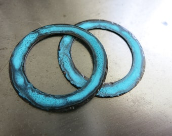 """2 TIDELINE PATINA Copper Component 1 1/4"""" Hammered Washers,  Artisan Connectors, Handmade Findings, Made to Order in 1 to 2 Weeks"""