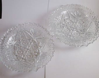 2 Matching Antique ARTCUT Nut Candy Dishes Clear Glass EAPG 1900 US Glass
