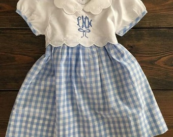 Sale! Girls Lydia Blue Gingham Dress