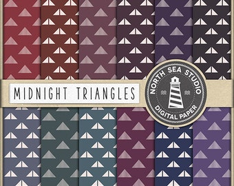 MIDNIGHT TRIANGLES Digital Paper Triangle Paper Dark Tone Backgrounds Digital Scrapbooking 12 Jpg 300 Dpi Files Download BUY5FOR8