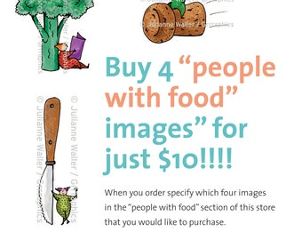 People with Food:  Pick any 4 vegetable, fruit, food, utensil digital printable clipart