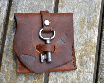 Leather belt coin purse / wallet with vintage skeleton key - hand stitched