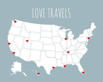 Map With Stickers DIY Kit, Boyfriend Gift, Love Travels, Husband Gift, Sentimental Romantic Gifts for Him, USA Pin Map Print, Travel Board