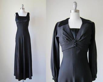 1960s vintage black long sleeveless gown long sleeve bolero evening jacket xs