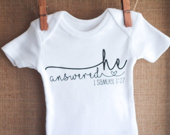 Pregnancy Announcement Bodysuit, Pregnancy Reveal Baby Shirt, One Piece, 1 Samuel 1 27, He Answered, Pregnancy Gift, Religious Gifts, Shower